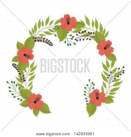 crown flower bouquet nature decorative plant leaves vector illustration isolated