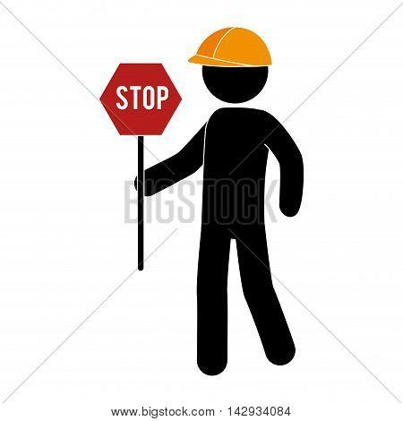 builder construction under working foreman stop sign helmet work vector illustration isolated