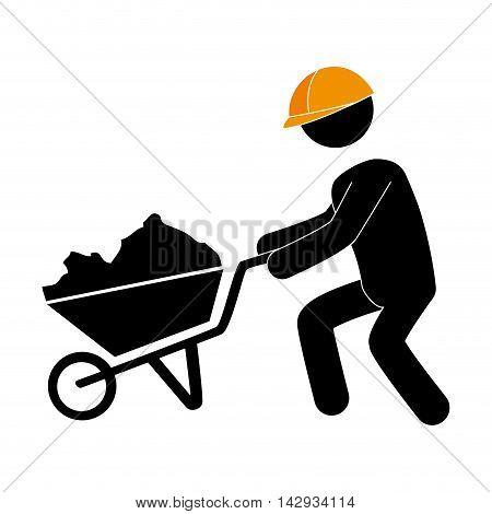 builder construction under working foreman cart construction helmet work vector illustration isolated