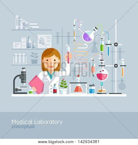 Medical Laboratory Conceptual. Professor Working on Medical Laboratory. Vector Illustration.