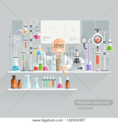 Professor Working on Medical Laboratory. Vector Illustration.