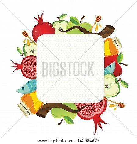 symbols of Jewish holiday Rosh Hashana , New Year. vector illustration