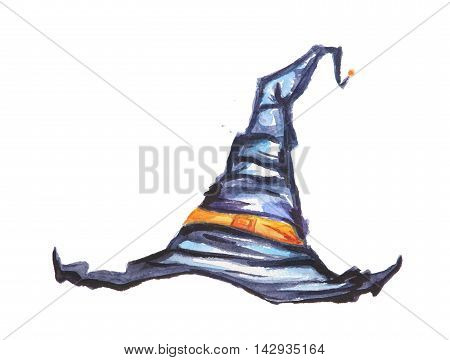 Watercolor witch hat. Spooky hat for Halloween. October festival.