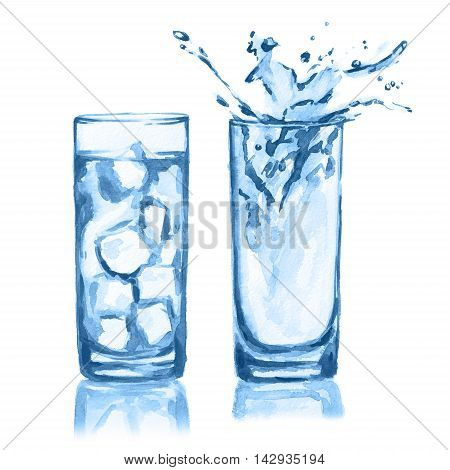 Watercolor glasses set. Glasses of water with ice cubes and splash. Fresh healthy beverage.
