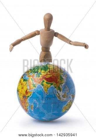 Figurine of a man throws up his hands over the globe