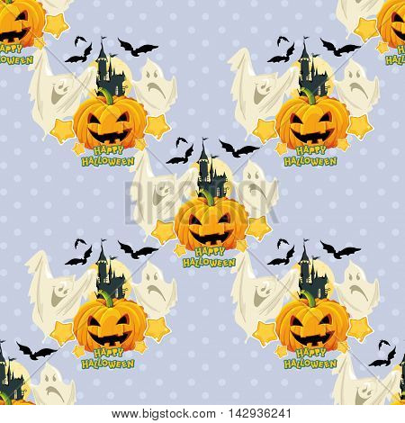 Seamless Halloween pattern with ghosts and pumpkin Vector Illustration EPS8