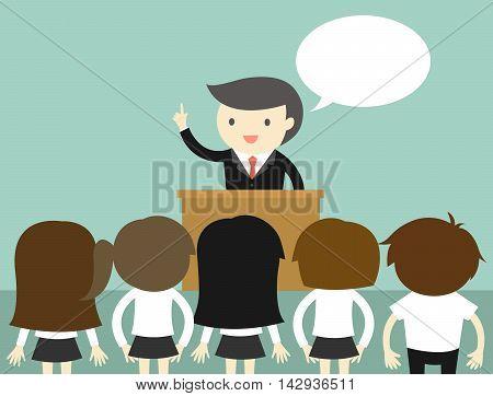 Business concept, Businessman talking on the podium. Vector illustration.