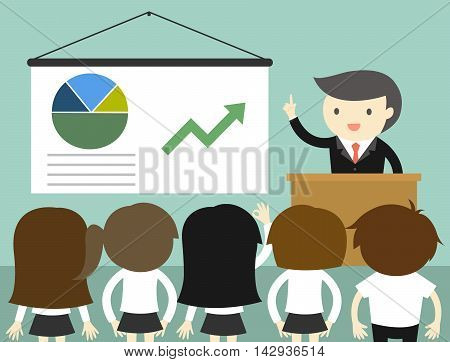 Business concept, Businessman giving presentation and explaining charts. Vector illustration.