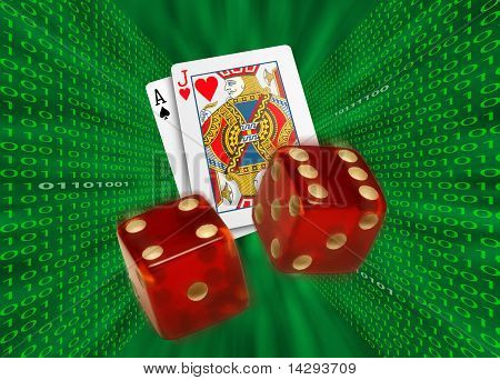 Playing Cards & Red Dice Flying Across Walls Of Binary Code
