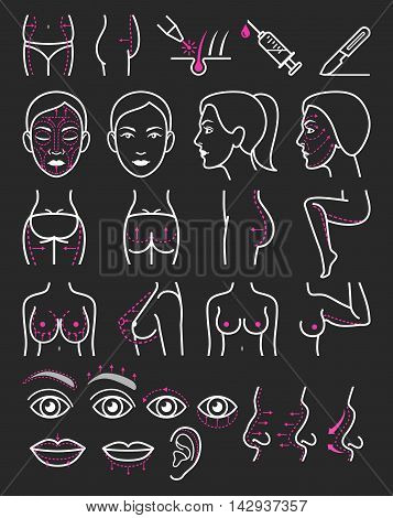 Cosmetic plastic surgery icons set. Vector illustration.