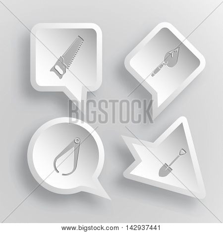 4 images: saw, trowel, caliper, spade. Industrial tools set. Paper stickers. Vector illustration icons.