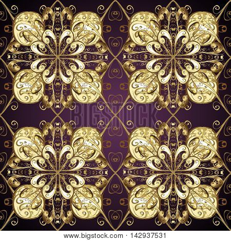 Vintage pattern on lilac gradient background with golden elements. Vector illustration