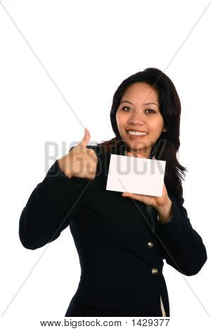 Happy Asian Businesswoman Showing Thumbs Up