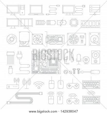 Computer hardware line icons set. Vector Illustration.