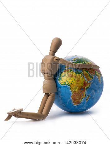 Figurine of a man hugging his hands Globe
