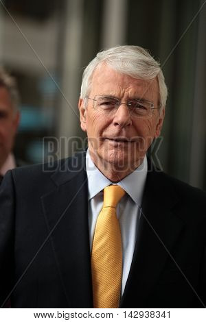LONDON, UK, JUNE 5, 2016: John Major attends the BBC Andrew Marr show picture taken from the street
