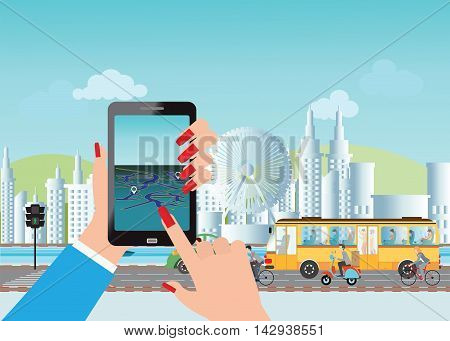Smart city and smart phone application using location information hand hold smart phone vector illustration.