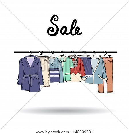 Cute hand drawn illustration with colored wear for men on hangers on white background. Illustration on the theme of fashion and sale. Vector for use in design