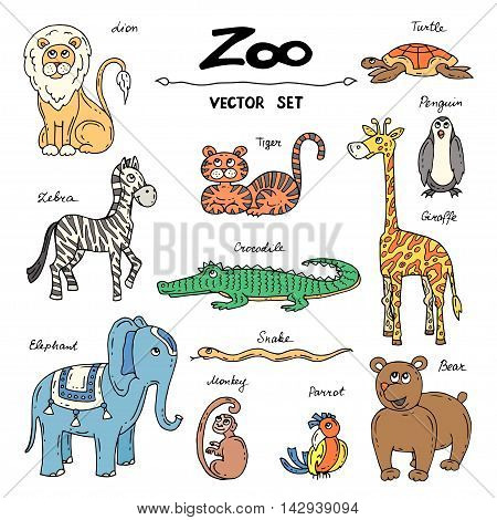 Vector set with hand drawn colored doodles on the theme of zoo. Flat illustrations of animals. Sketches for use in design web site packing textile fabric