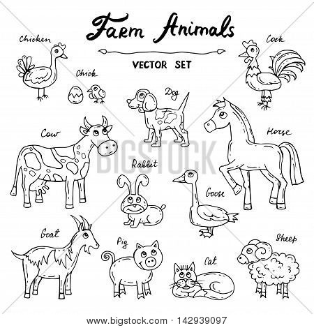 Vector set with hand drawn isolated doodles on the theme of farm animals. Flat illustrations. Sketches for use in design web site packing textile fabric