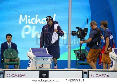 RIO DE JANEIRO, BRAZIL - AUGUST 8, 2016: Olympic champion Michael Phelps of United States before swimming the Men's 200m butterfly at Rio 2016 Olympic Games