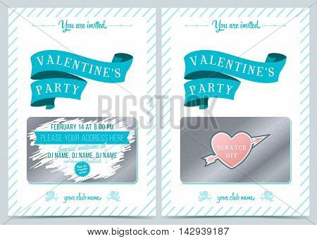 Invitation Valentine's Day. Lottery scratch card. Game card for Valentine day.