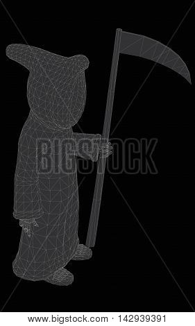Vector illustration of death with a scythe. 3D.