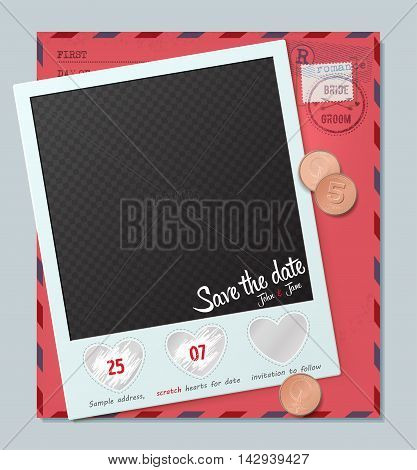 Creative Invitation on wedding. Template from scratch off element in the shape of a heart. Save the date card. Wedding Invitation Card