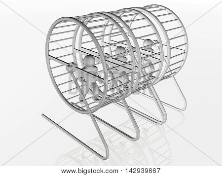 Mans in the squirrel cages on white background, 3D illustration.