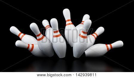 bowling strike on black background. 3d Illustrations