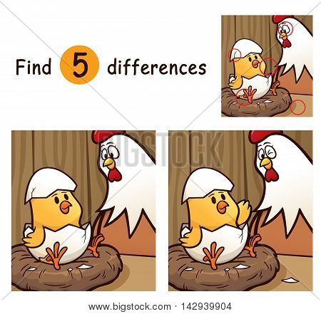 Vector Illustration of Game for children find differences - Chick