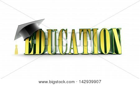 education and graduation cap isolated on a white background. 3d Illustrations