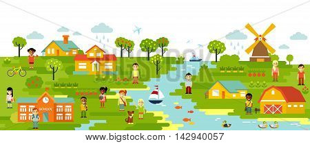 Garden and town village panoramic background in flat style