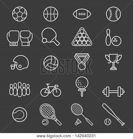 Set of sports Equipment icons. Vector Illustrations.