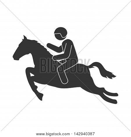 jockey sport horse riding rider man exercise jump vector illustration isolated