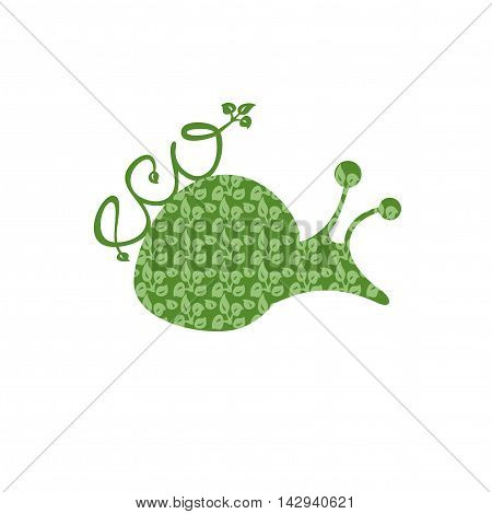 Snail with the texture of leaves and the inscription on the back of Eco. Logo, vector illustration.