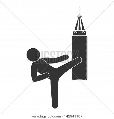 punching sack boxing training fighting hit knockout vector illustration isolated