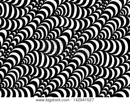 Abstract seamless floral background of doodle hand drawn lines. Monochrome pattern. Black white wave wallpaper.