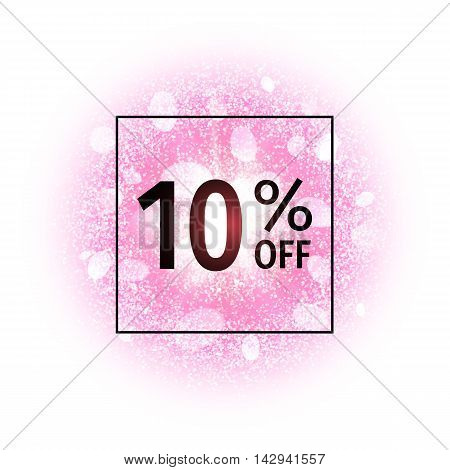 Sale banner 10 percents off on abstract explosion background with pink glittering elements. Burst of glowing star. Dust firework light effect. Sparkles splash powder background. Vector illustration.