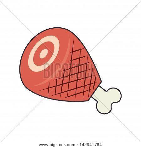 ham leg pork turkey food cook dinner vector illustration isolated