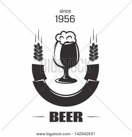 Beer insignia logo with glassware isolated on white background. Vintage ale and lager emblem for brewery. Vector elements for label or badge design. EPS vector illustration.