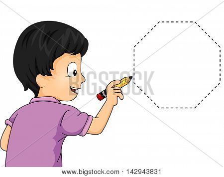 Illustration of a Little Boy Drawing an Octagon