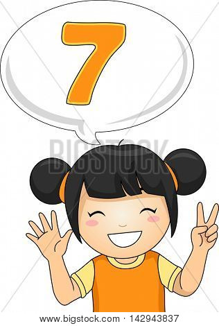 Illustration of a Little Girl Gesturing the Number Seven