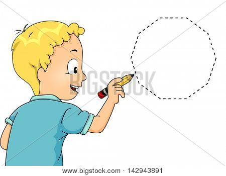 Illustration of a Little Boy Drawing a Decagon