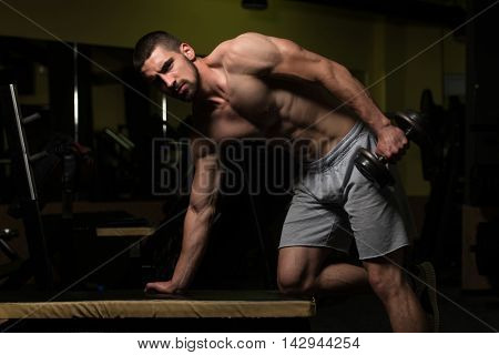 Triceps Exercise With Dumbbells In A Gym