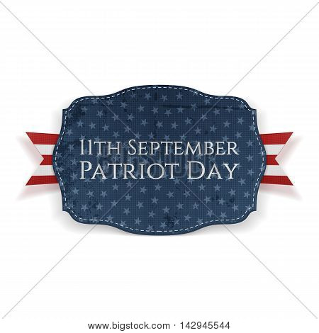 11th September. Patriot Day Banner with Ribbon. Vector Illustration