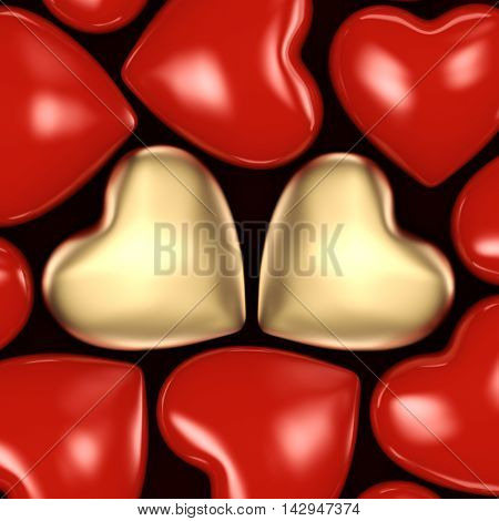3D Rendering Background Of Hearts