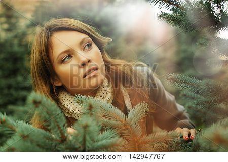 Art fashion portrait of beautiful woman fantasy surprise concept