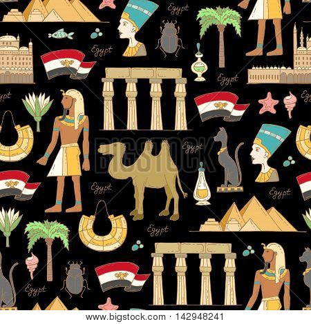 Vector seamless pattern with hand drawn colored symbols of Egypt on black color. Pattern on the theme of travel and tourism. Background for use in design, packing, web site, fabric