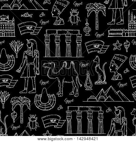 Vector seamless pattern with hand drawn symbols of Egypt on black color. Pattern on the theme of travel and tourism. Background for use in design, packing, web site, fabric